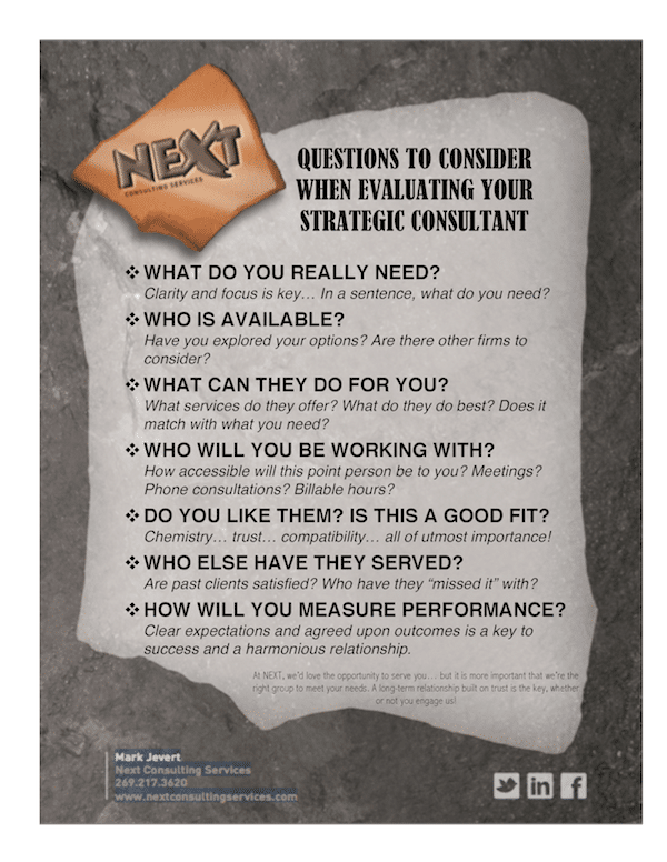 Questions When Evaluating Your Strategic Consultant